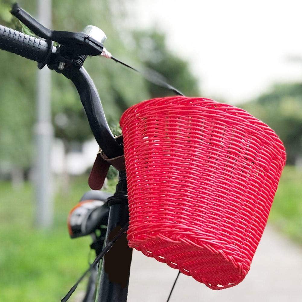 Material de rat/án Natural Cesta Delantera para Bicicleta Impermeable para ni/ños Hecha a Mano para Bicicletas para ni/ños y ni/ñas Cestas para Bicicleta Cesta Delantera para Bicicleta