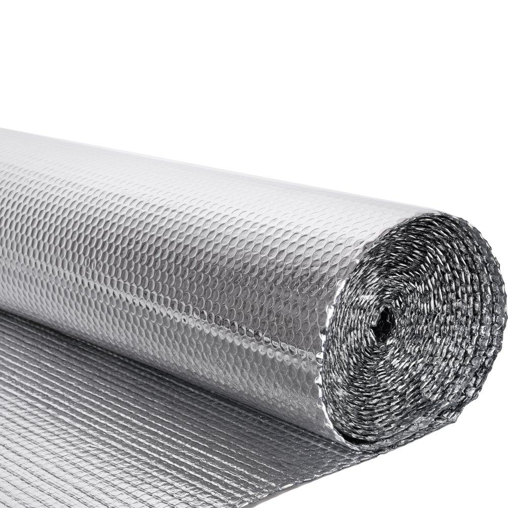 MissSnower Silver Double Aluminium Foil insulation with Single Bubble Layer- 1.2 x 10m Roll 12 Square Metre - 200g per m2, Floor Loft Attic Wall Motorhome Caravan Boat Shed