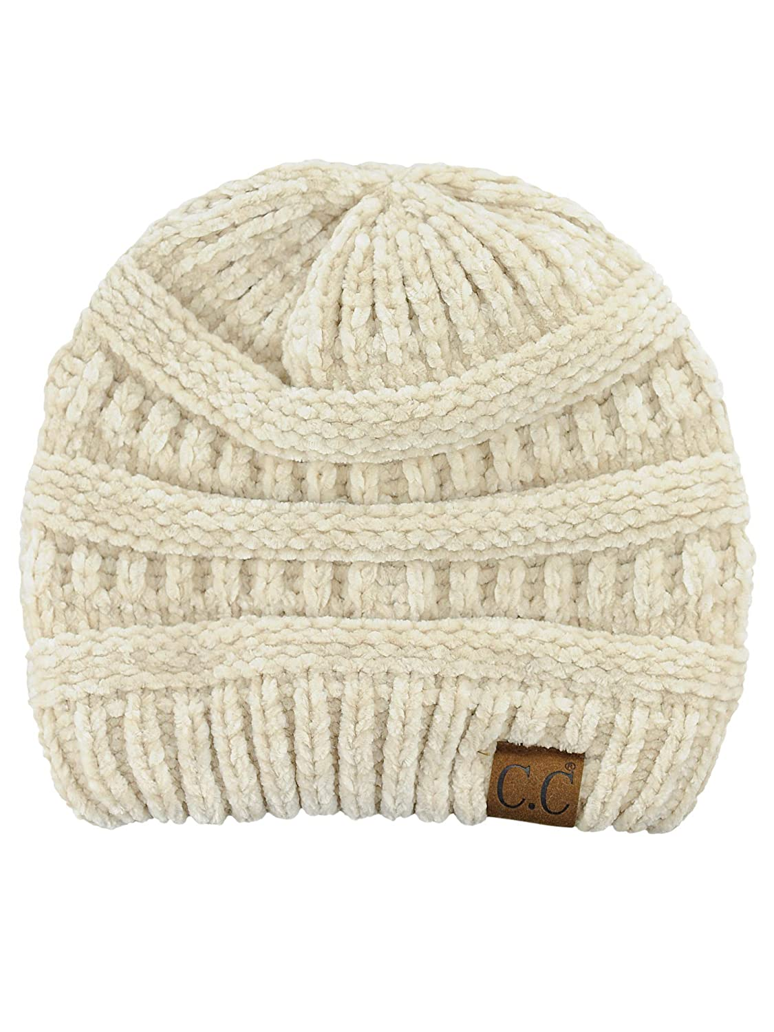 f7221214dfe91 C.C Women s Chenille Soft Warm Thick Knit Beanie Cap Hat-Beige at ...