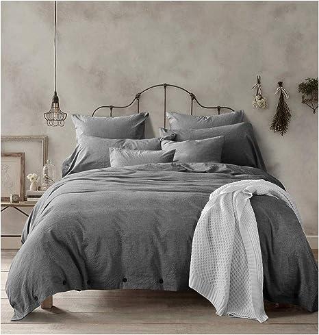 doffapd duvet cover queen washed cotton duvet cover set 3 piece queen dark gray