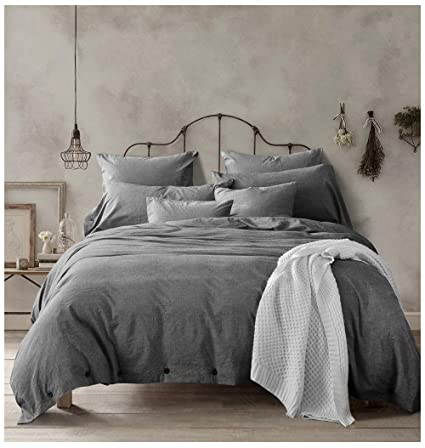 Amazon Com Doffapd Duvet Cover Queen Washed Cotton Duvet Cover Set 3 Piece Queen Dark Gray Home Kitchen
