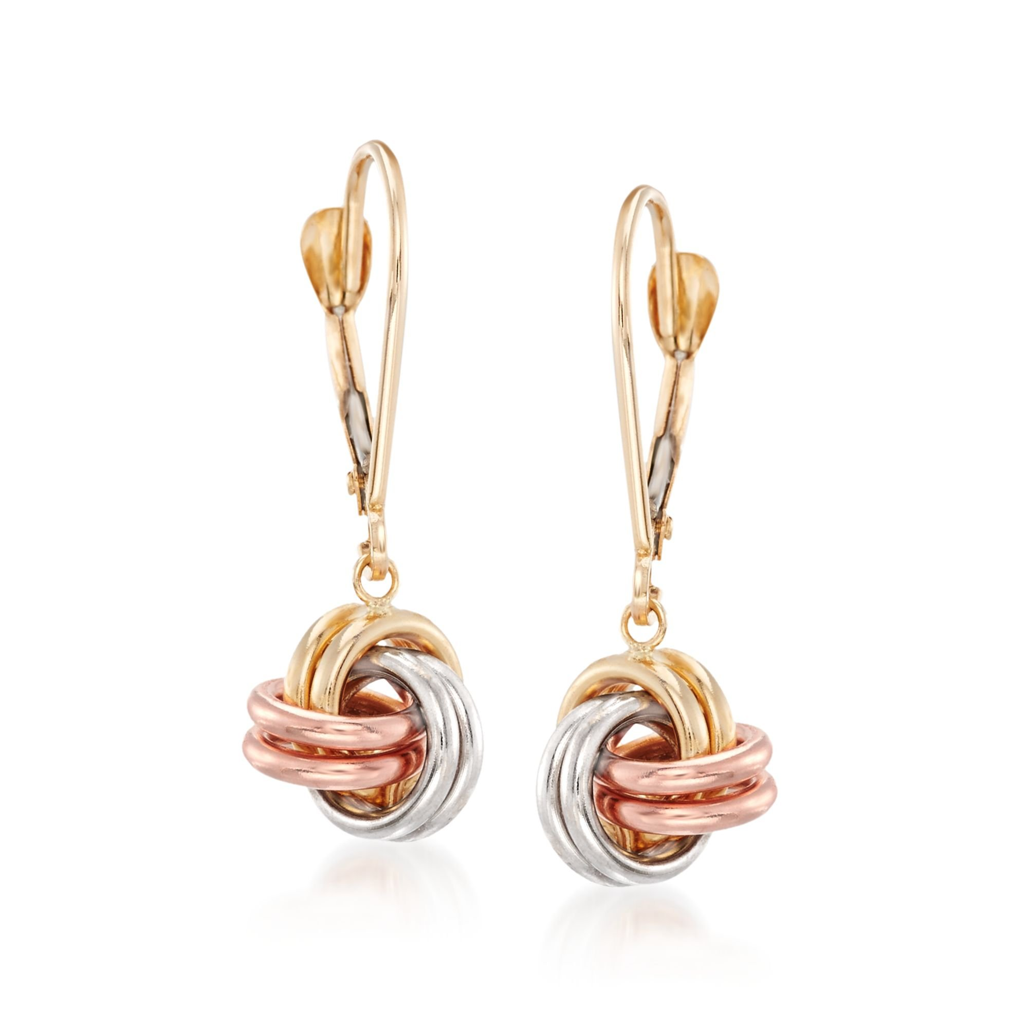 Ross-Simons 14kt Tri-Colored Gold Love Knot Drop Earrings