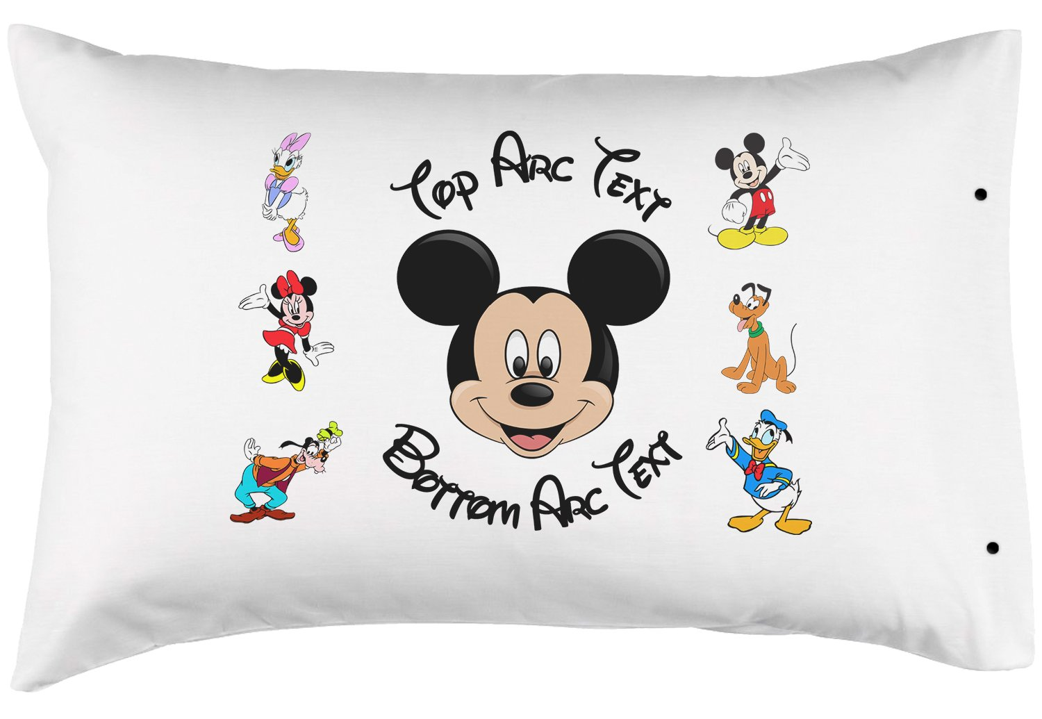 Personalized Mickey Mouse Pillowcase, Fun - 100% Double Brushed Microfiber with Snap Enclosure - 20''x30''