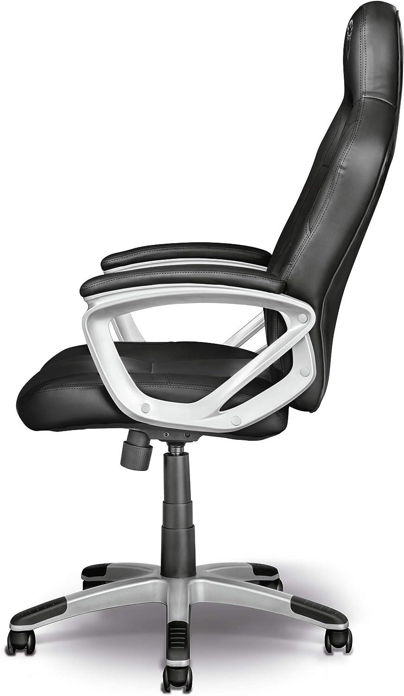 Trust GXT 705W Ryon Silla Gaming ergonómica, diseñada para jugar cómodamente durante horas, blanco Negro CVHUVX