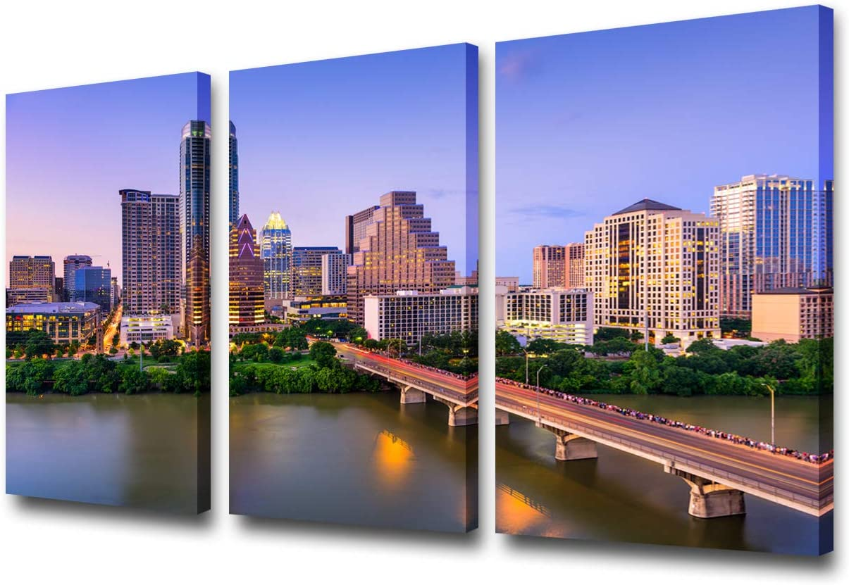 USA City Skyline Canvas Wall Art - Austin, Texas, USA Downtown Skyline on The Colorado River - Gallery Wrap Modern Home Decor Ready to Hang - 24'' x 12'' x 3 Panels