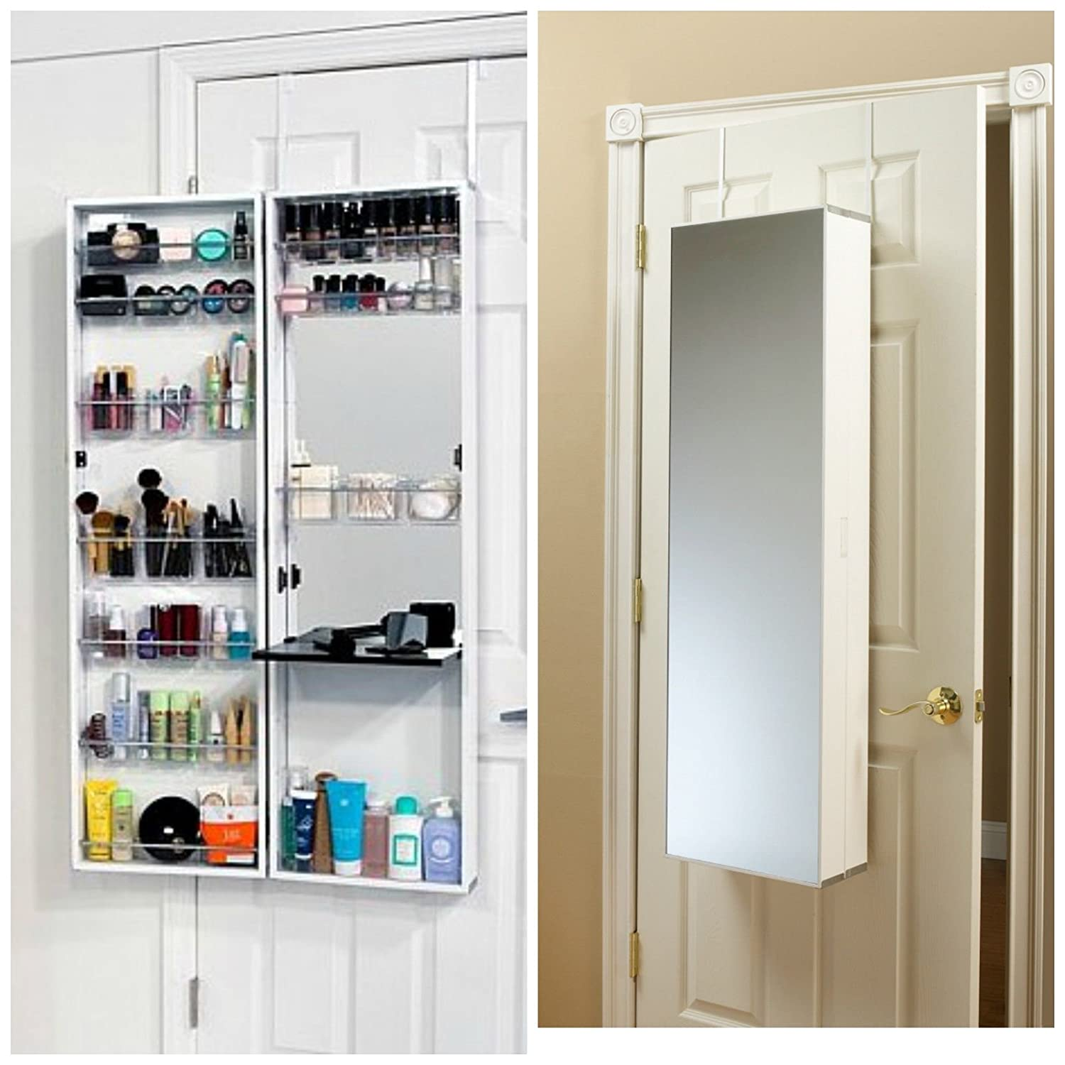 makeup vanity jewelry doors and over combination door armoire white mirror the