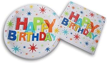 Amazon.com: Feliz Cumpleaños Party Supply Kit – Platos y ...