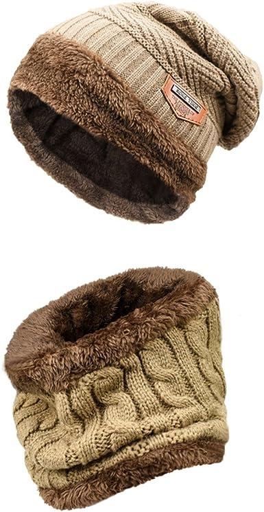 QS_Go Sombrero Babero de Dos Piezas Sombreros de Hombre Gorros de Lana Gorros Invierno Sombreros de Invierno Calentar Sombreros Gorras Gorro de Invierno Tipo Otoño e Invierno Tendencia (Caqui): Amazon.es: Ropa y