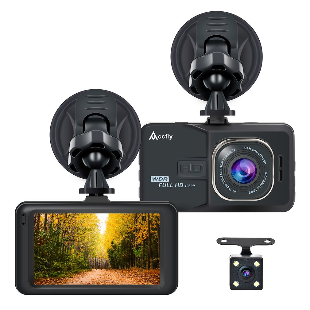 Accfly Dash Cam 1080P 3.0'' LCD Screen Car Dash Camera DVR Recorder G-Sensor, Loop Recording Motion Detection with 170° Wide Angle Lens + Vehicle Rear Camera