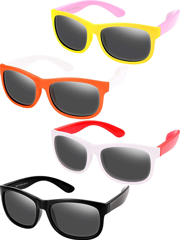 4 Pieces Toddler Sunglasses Children Sunglasses Rubber Flexible Kids Sunglasses Age 3-10