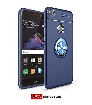 Leton Funda Huawei P8 Lite 2017 Silicona Anillo Ring Azul Negro Carcasa Huawei P8 Lite 2017 Case Kickstand 360 Grados Giratorio Grip Soporte Antigolpe ...