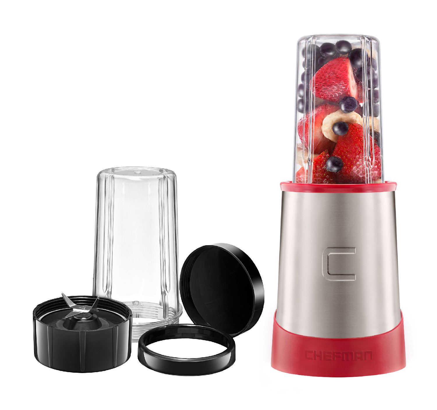 Chefman Ultimate Personal Smoothie Blender, Single Serve, Stainless Steel Blending Blade, 2 Travel Cups with Lids, Solid Storage Cover and Comfort Drinking Rim, 6 Piece - RJ28-6-SS-Red by Chefman (Image #1)