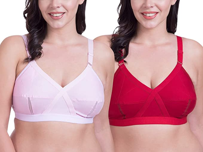 582687f8ccf Rajnie Cross Fit Plus Size Non Padded Pink Red Cotton Bra - (Pack of 2)   Amazon.in  Clothing   Accessories