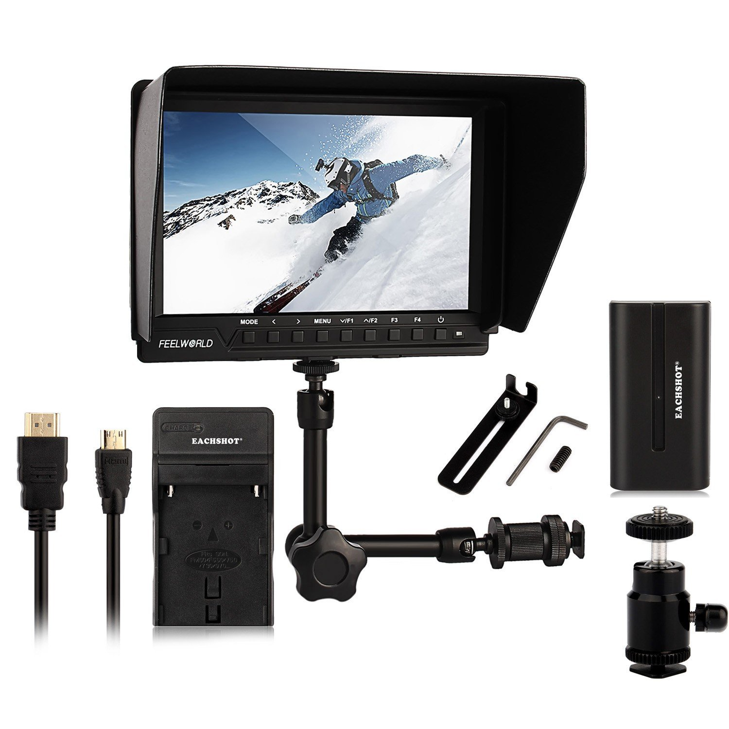 Feelworld FW-760 + EACHSHOT Battery + Charger + Magic Arm, 4K HDMI Output 7'' Video Monitor IPS Full HD 1920x1200 HDMI 1080p for BMPCC for Dslr Camera Canon Nikon Sony
