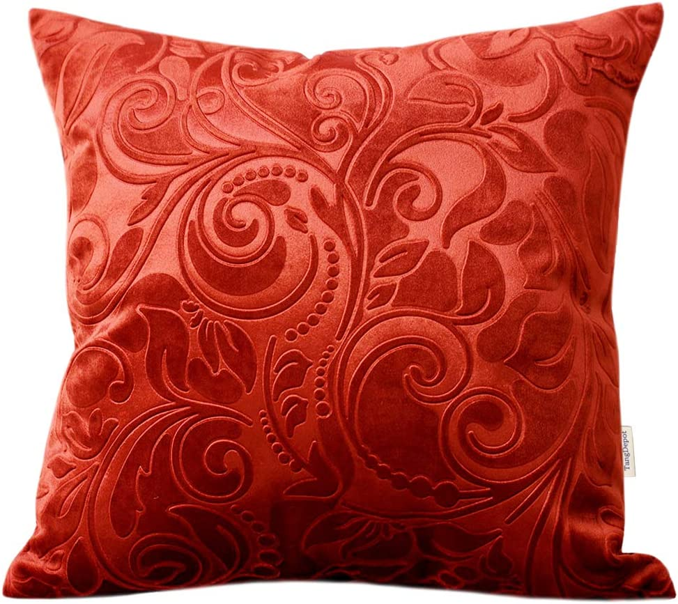 "TangDepot Heavy Velvet Embossing Throw Pillow Cover, Classis Floral Anaglyph Velvet Fabric, Decorative Pillow Cover, Indoor/Outdoor Pillows Shell, Cushion Cover - (22"" x 22"", C09 Brick Red)"