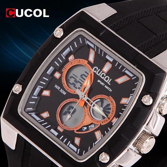 Regalo Cucol Beauty macho marca Digital Sports Relogio relojes reloj para hombre macho primera marca reloj correa de goma o cama de matrimonio reloj ...