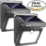 BAXiA 28 LED, Lampada Wireless di Sicurezza Alimentata con Energia Solare con Sensore di Movimento Alimentata ad Energia Solare per Esterni, Pareti, Giardino, Terazzo, Cortile(2-Pacchi)