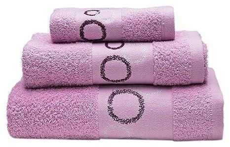 Sancarlos Juego de toallas bordadas Corona, Algodón, Rosa, 3 piezas
