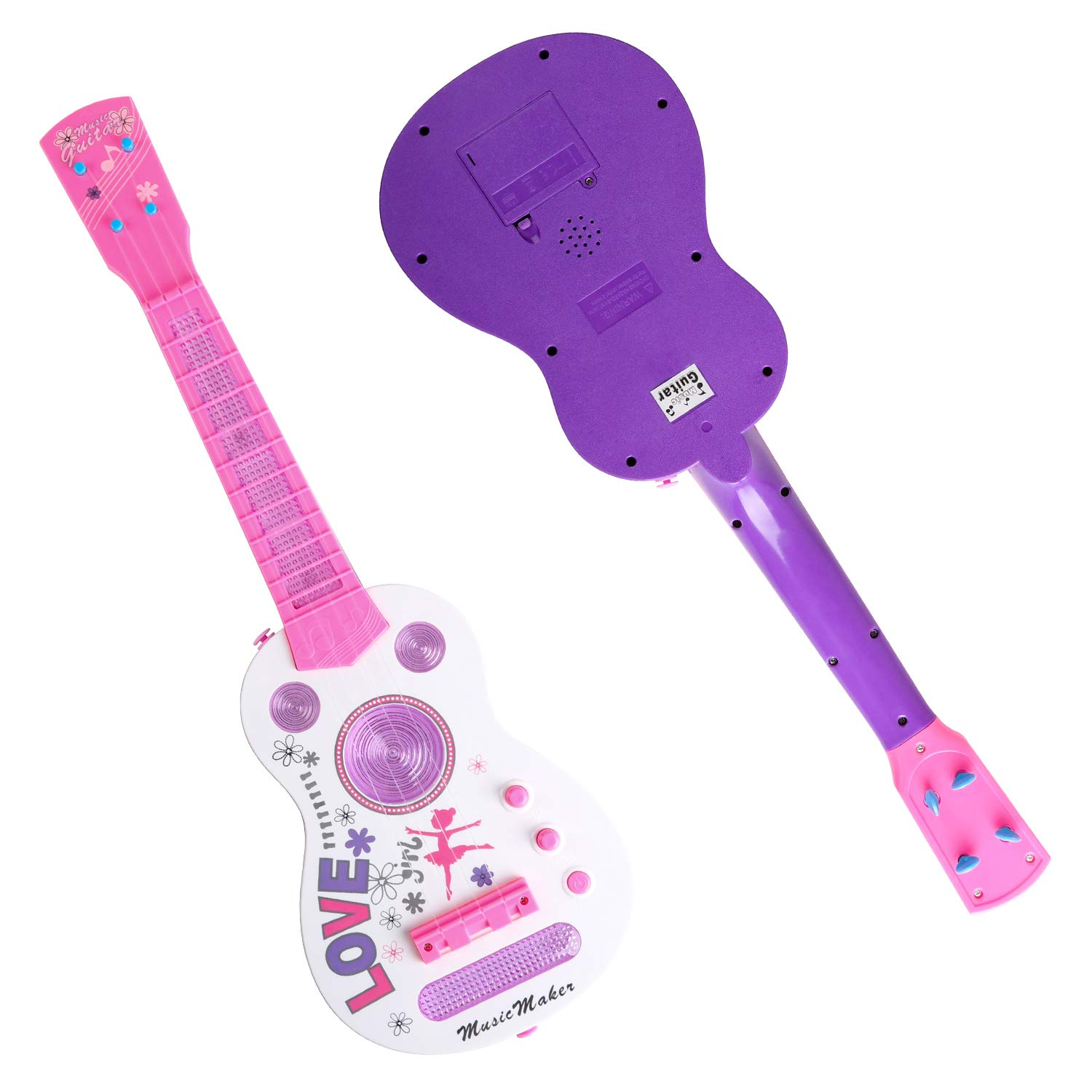 Amazon.com: TWFRIC Kids Guitar Electric Battery Operated Toy Guitar Flash Light Musical Educational Toy for Boys Girls Child (21 Inch / Pink): Toys & Games