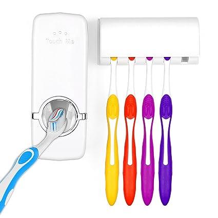 Pasta de dientes automático dispensador de pasta de dientes exprimidor Kit con vaso para cepillos de