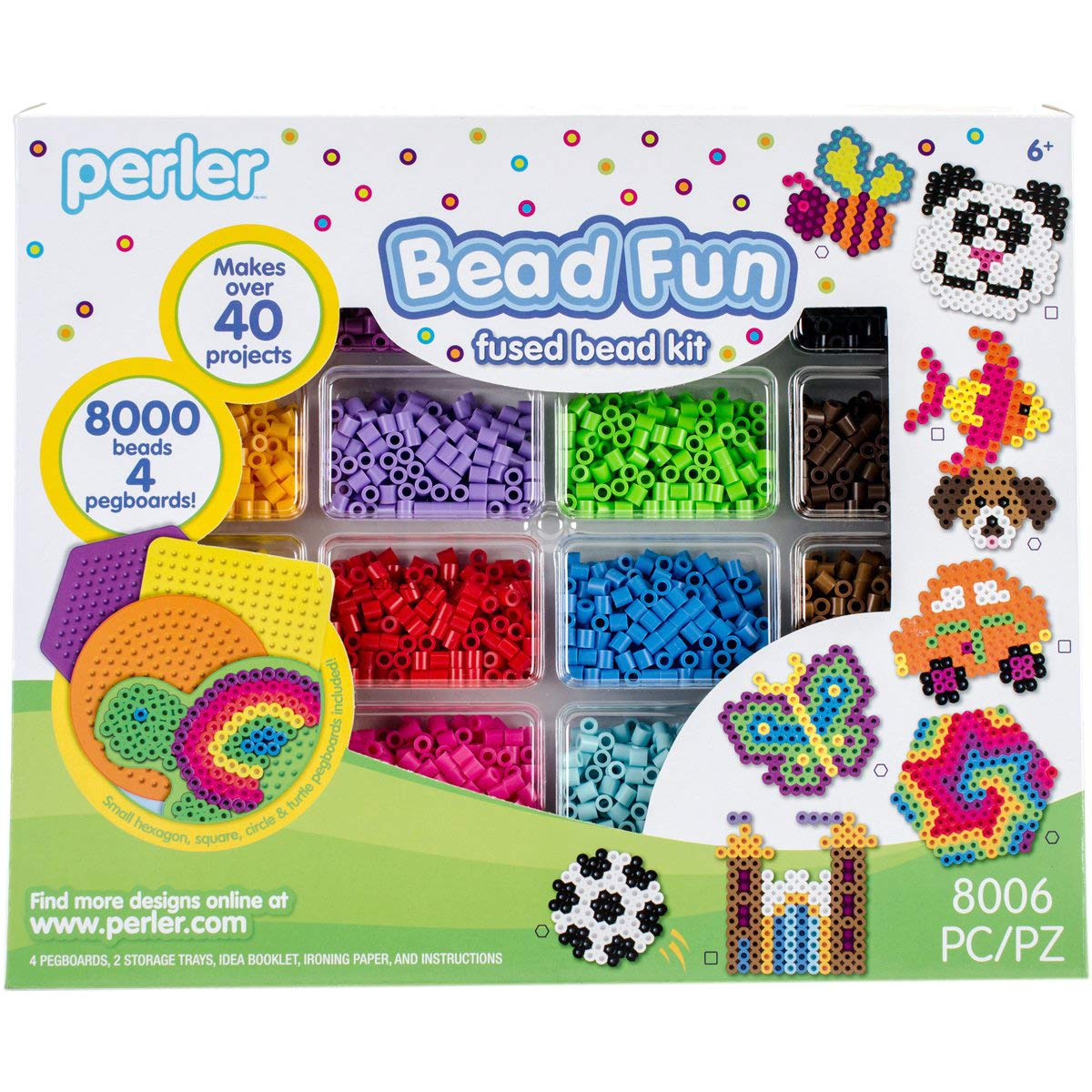 Perler Activity Kit and Storage Trays, 8000 Beads + pegboards, 8006 pcs by Perler