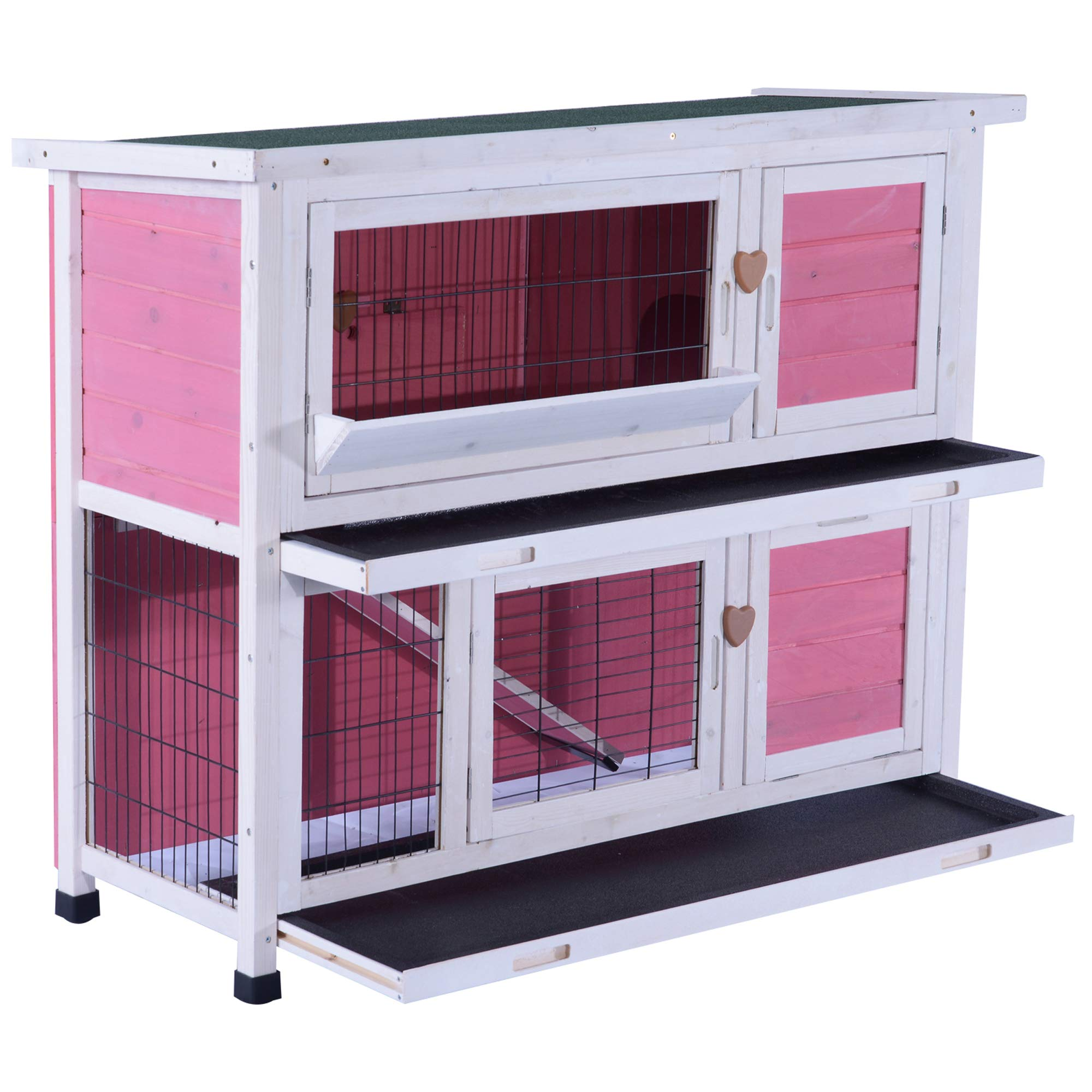 Lovupet 40inch 2-Story Wooden Rabbit Hutch Small Animal House Pet Cage Chicken Coop with Tray and Feed Trough 0323 by MCombo