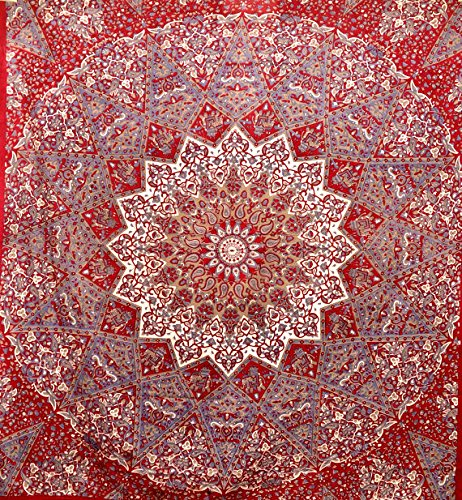 Jaipuri Art And Creations Indian Star Hippie Mandala Psychedelic Wall Hanging Tapestry Queen Throw Ethnic