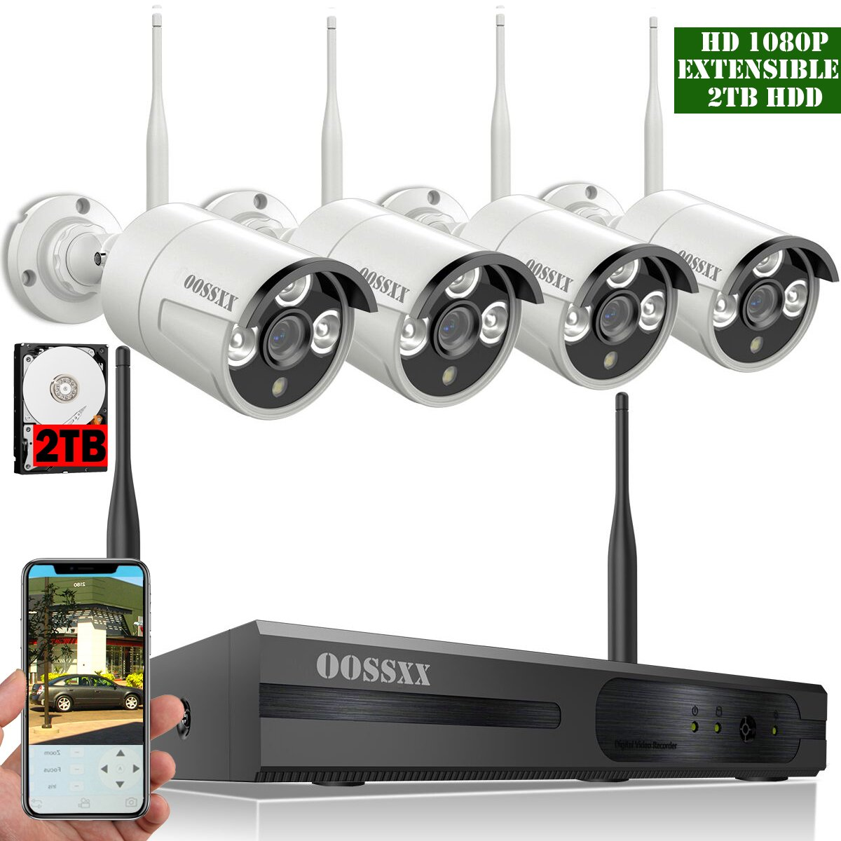 OOSSXX 8-Channel HD 1080P Wireless Network/IP Security Camera System(IP Wireless WIFI NVR Kits),4Pcs 1080P 2.0 Megapixel Wireless Indoor/Outdoor IR Bullet IP Cameras,P2P,App, HDMI Cord & 2TB HDD