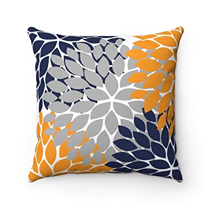 CiCiDi Decorative Square Orange Blue Pillow Covers, Throw Pillow Case,  Floral Pillow Cover, Blue and Orange Decor, Navy Orange Nursery Pillow,  Rocking ...