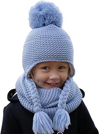 Hilltop 100% algodón: Conjunto de invierno para niños conjunto de bufanda redonda y gorro con orejeras a juego. Para niños con edades de 1, 1/2 a 3 años de edad, 1D-azul bebé: