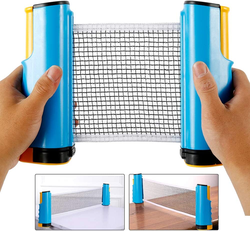 Waheed Ping Pong Net,Table Tennis Nets Retractable Replacement Adjustable Any Table Portable Travel Holder Indoor Outdoor Sports Accessories with Bracket Clamps