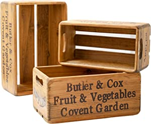 Gift Crate – Wood Boxes Rustic Farmhouse Style – Set of 3 Decorative Boxes – Country Vintage Wooden Crates for Storage and Display – Decorative Wooden Crates with Handles
