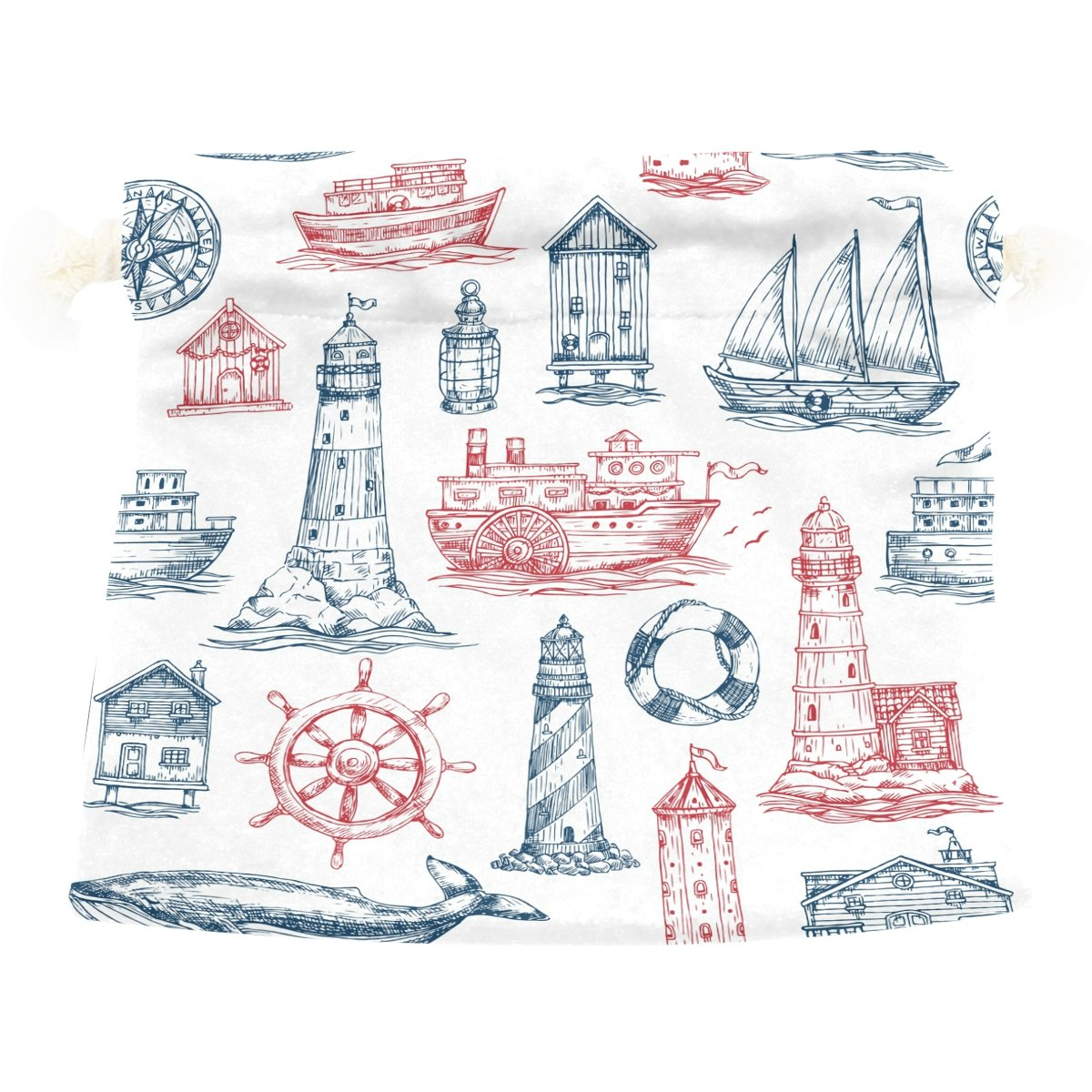 Dragon Sword Nautical Lighthouse Boat Gift Bags Jewelry Drawstring Pouches for Wedding Party, 5.5x5.5 Inch
