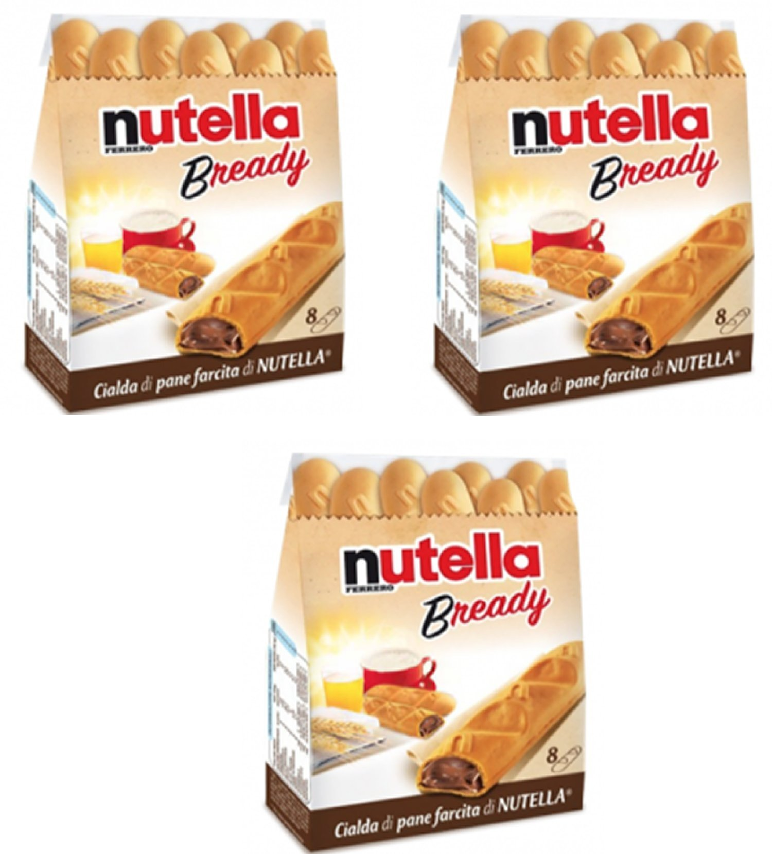 """Ferrero: """"Nutella B-ready """" a crisp wafer of bread in the form of mini - baguette stuffed with a creamy Nutella 8 pieces 5.39 oz (153g) Pack of 3 [ Italian Import ]"""