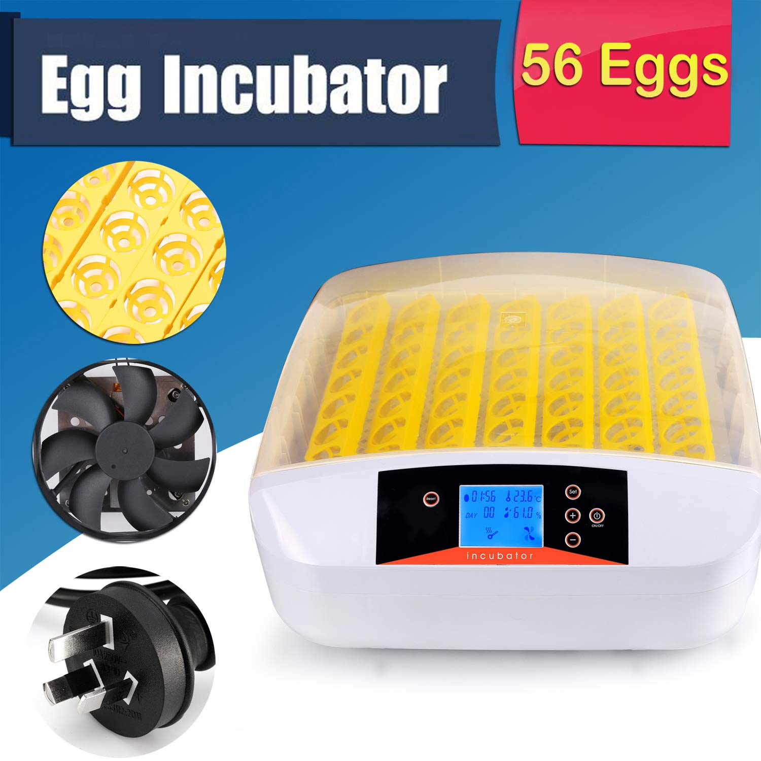 Currens 56 Egg Incubator with Eggs Turner,Digital Automatic Incubators for Hatching Chicken Duck Quail Birds Eggs Poultry Hatcher,Encubadora De Huevos by Currens (Image #4)