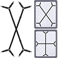 Siaomo 4 Pcs Triangle Sheet Fasteners and Crisscross or Straight Bed Sheet Holders Straps, Fabric, Black, 2 Pcs…