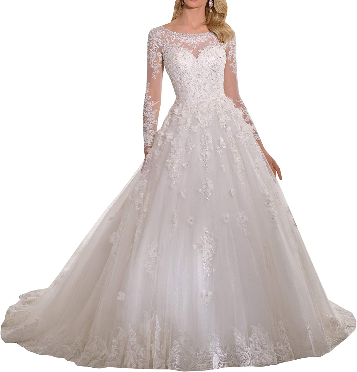 Melisa Womens Elegant Crewneck Long Sleeves Lace Beaded Wedding Dresses for Bride with Train Tulle Bridal Ball Gowns