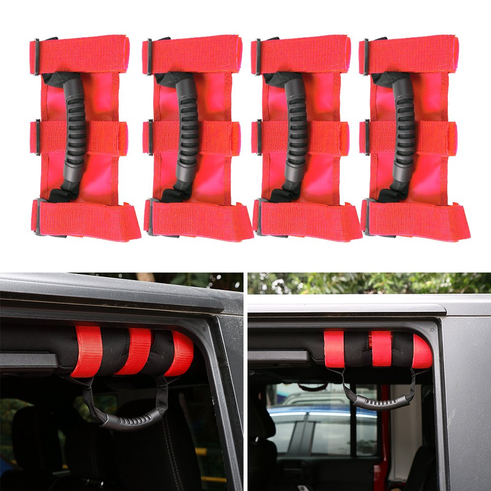 Red JeCar 4 x Heavy Duty Roll Bar Grab Handles for Jeep Wrangler 1955-2018 JK JL CJ YJ TJ Unlimited