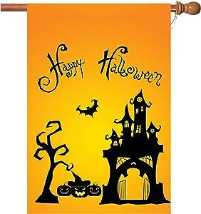 Halloween Garden Flags,Halloween Flags 28 x 40 Inch Double Sided Happy Halloween Alphabet, Halloween Pumpkin, Bat, House, Tree on Flag Best Halloween Decorations 1 Pack