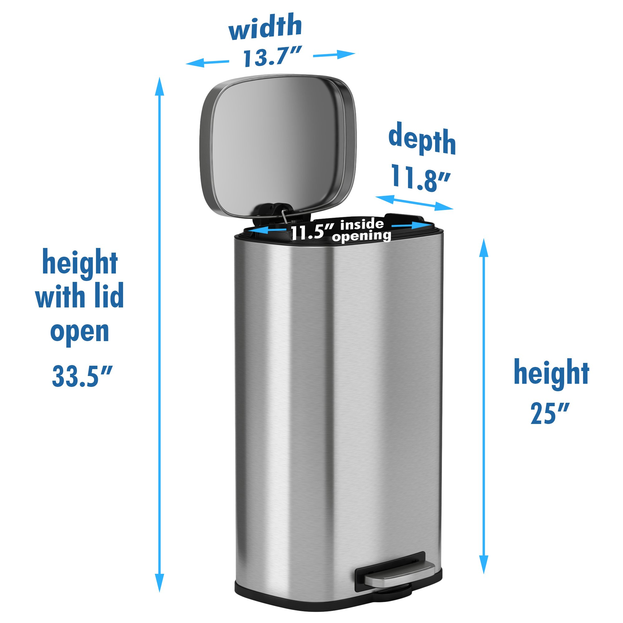 iTouchless SoftStep 8 Gallon Stainless Steel Step Trash Can, 30 Liter Pedal Kitchen Trash Can Perfect for Office, Home and Kitchen by iTouchless (Image #4)