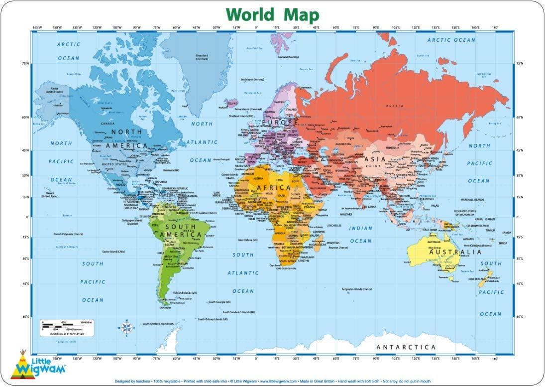 Little Wigwam - Mantel del Mapa del Mundo (en inglés): Amazon.es: Bebé