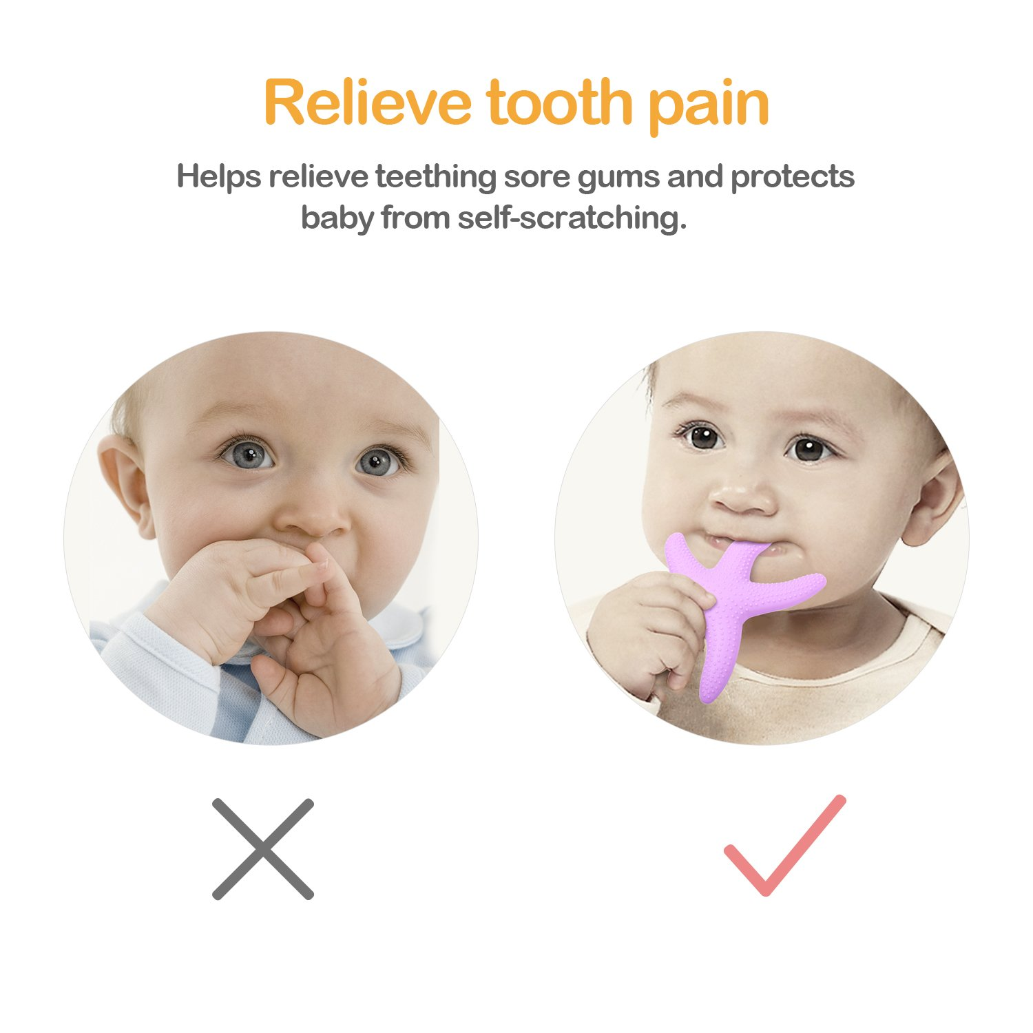 Suitable for 6 to 24 Months Baby VAKOO Baby Teething Toys Silicone Teethers Baby Teether
