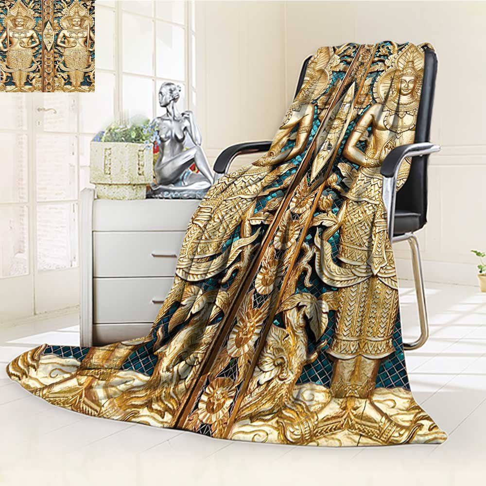 AmaPark Digital Printing Blanket Rustic Thai Gate at Wat Sirisa Tong Thailand Buddhism History Spiritual Gen Teal Summer Quilt Comforter by AmaPark