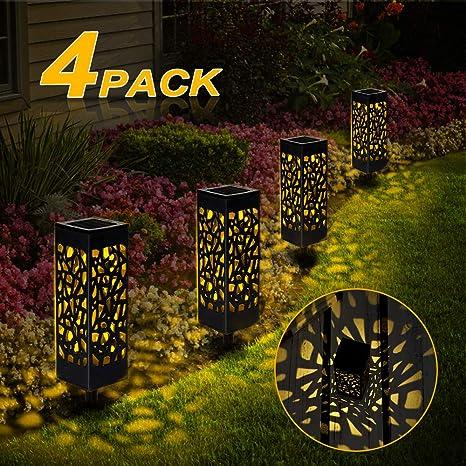 Nasharia Lot de 4 lampes solaires de jardin à énergie ...