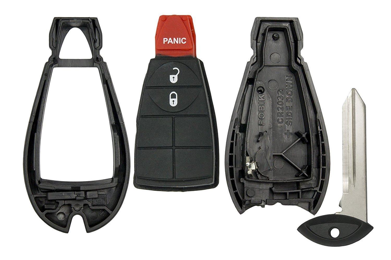 CanadaAutomotiveSupply © - 1 New Uncut Keyless Remote Fobik Key Fob SHELL for Select Chrysler Dodge Jeep VW