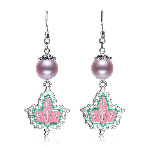 AKA Sorority Gifts Alpha Kappa Alpha Paraphernalia, Silver Pearl Crystal  Dangle Earrings Hypoallergenic for Women, Girls