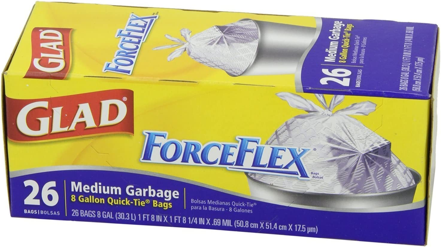 Glad 70403 Force Flex Medium Garbage Bag 8 Gallon 26 Count Pack of 2