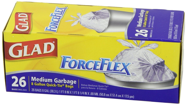 Glad 70403 Force Flex Medium Garbage Bag 8 Gallon 26 Count - Pack of 2