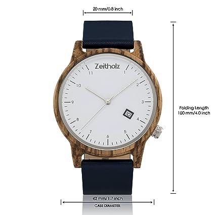 Reloj de madera ZEITHOLZ - Breitenbrunn - 100% de Madera de Zebrano y Correa de Cuero - Producto Natural - Hipoalergénico - Sostenible - Esfera Blanca, ...