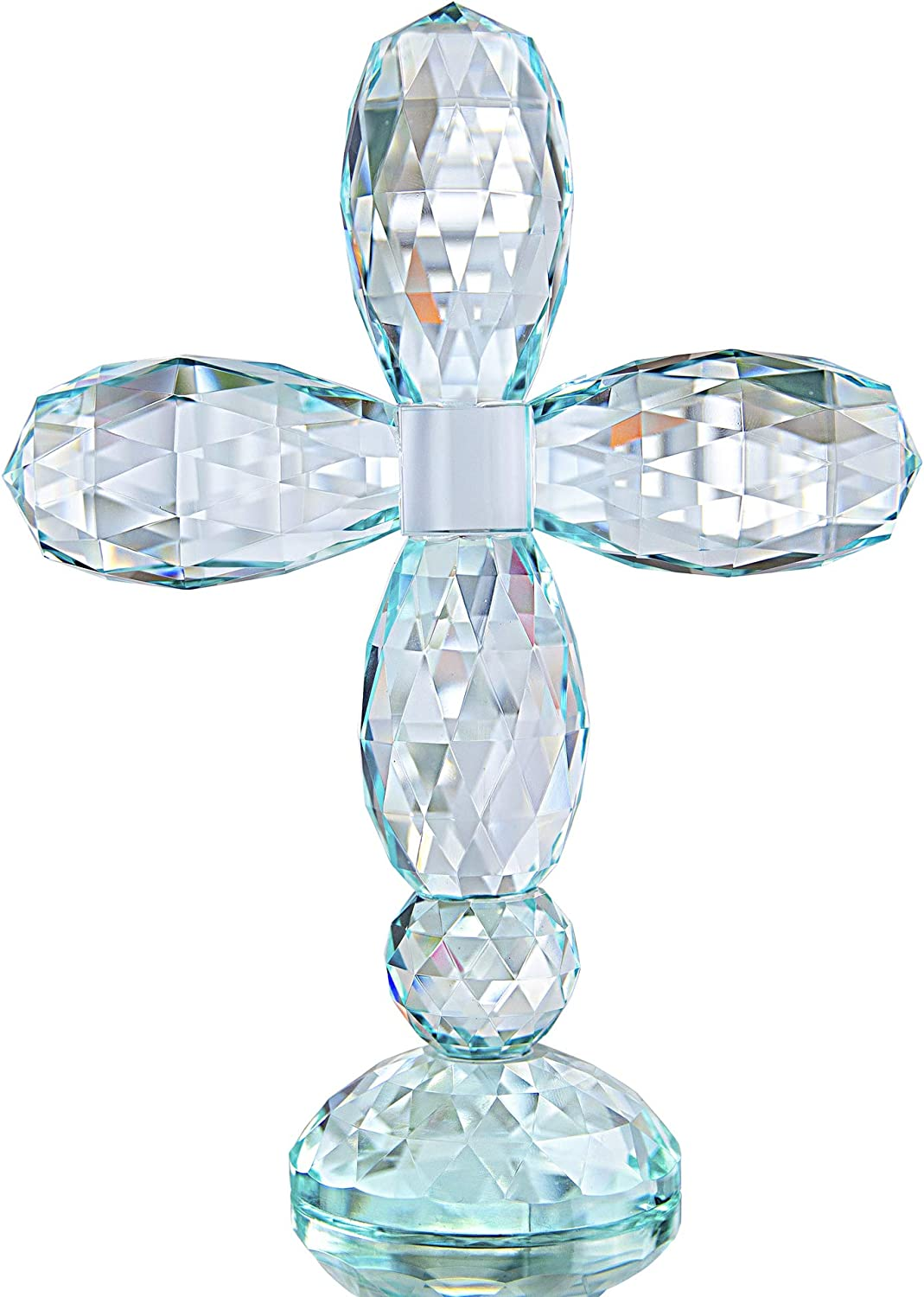 QF Crystal Cross Standing Colorful Traditional Cross Figurine 5.5 x 7 inches Glass Craft Decor (Cyan-Blue)